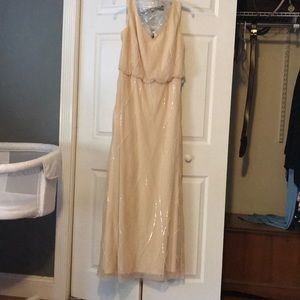 Bill Levkoff champagne colored bridesmaid dress